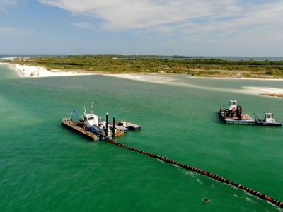 Gator Dredging doing Dredge Re-nourishment Project on Honeymoon Island, Fl